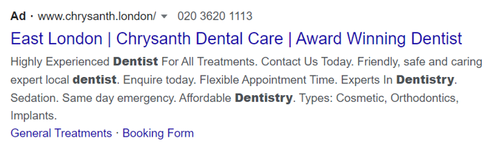 Screenshot of a Google advert with structured snippet extensions