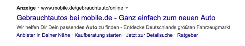 Screenshot einer Google Anzeige mit Sitelink Erweiterungen