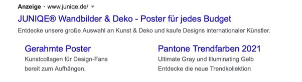 Zweiter Screenshot einer Google Anzeige mit Sitelink Erweiterungen