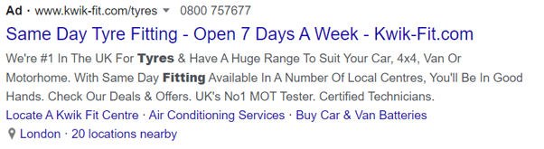 Screenshot of a google ads text ad with callout extensions