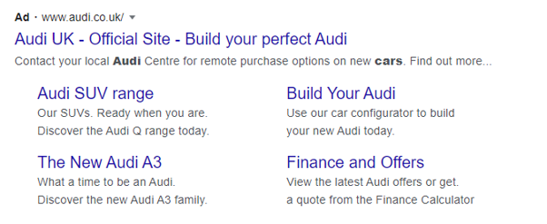 Screenshot of a Google Ads Text Ad with Extended Sitelinks