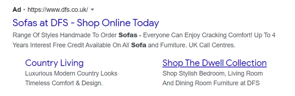 Another screenshot of a Google Text Ad with extended sitelinks